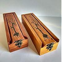 Plumier de madera, estuche para lápices, de madera reciclada de palet con grabado pirográfico