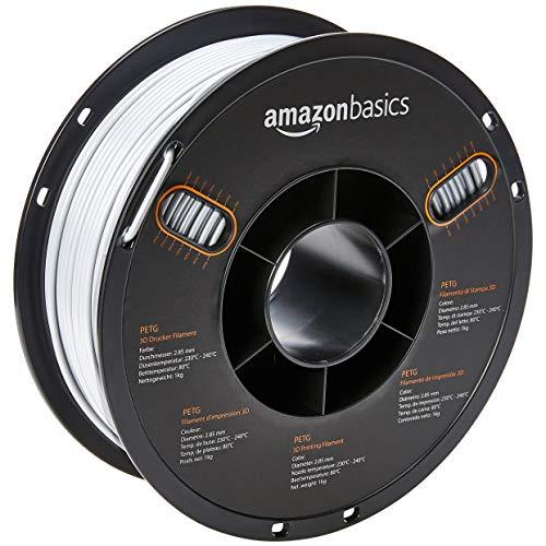 AmazonBasics - Filamento de PETG para impresora 3D, 2,85mm, Blanco, 1kg por bobina