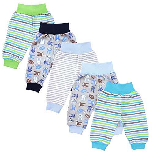 TupTam Unisex Baby Pumphose Jersey Schlupfhose 5er Pack, Farbe: Junge, Größe: 74