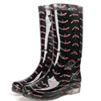 XIAYUT Rain Boots For Women,Fashion Simple Outdoorblack Unicorn Print Wear Resistant Slip Wellington Rubber Waterproof Rain Shoes Low Heeled Ladies