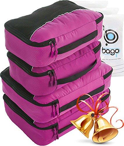 Packing Cubes 4pcs Value Set for Travel – Plus 6pcs Luggage Organiser Zip Bags (Pink)