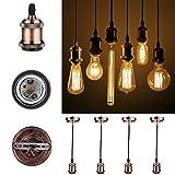 GreenSun LED Lighting Vintage 4 Stück,E27 Lampenfassung Antike Edison Halter Lampe Zubehör mit 1.35 Meter 3-adriges Kabel für Pendelleuchte Hängelampe, R1, Keramik, 4er