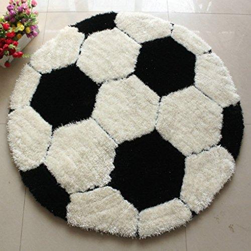 Teppich, Super dick Dehnen Garne Plus Feinste Seide Fußball der Teppich Kinderzimmer Runden Teppich Computer Stuhl Teppich amerikanischen Teppich (Größe: 101 * 101 cm)