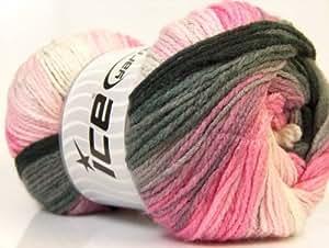 Laine pour tricot - Magic Light - 4 - 4.5 mm / US 6 - 7 - Black, Orchid, Pink, White, Grey - Lot de 4 pelotes - fnt2-22026