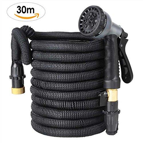 FIXKIT Flexischlauch Gartenschlauch Wasserschlauch Erweiterbar Bewässerung Stretch Schlauch mit 8 Funktion flexible dehnbar für Gartenbewässerung und Reinigung Schwarz (30m)