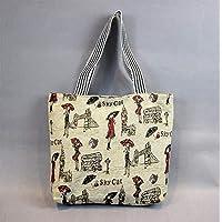 Preisvergleich für Yudanwin Leinwand-Lunch-Tasche Schüler Lunch Bag Cartoon Lunch Box Tasche Picknick Tasche (Sechste)