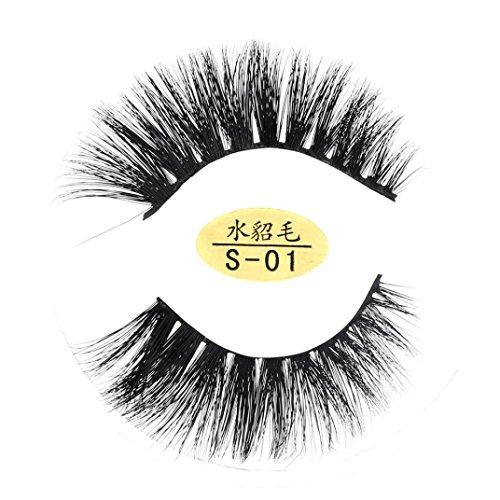 Wimpern LETTER®Falsche Wimpern weich 1 Paar Natürliche 3D Wimpern 100% Faux Mink Handgemachte (SchwarzA)