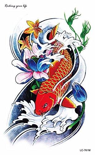 temporare-korperkunst-entfernbare-tattoo-aufkleber-bunter-karpfen-lc761-sticker-tattoo-temporary-tat