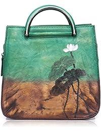 APHISONUK Leather Women's Handbag Crossbody Shoulder Bag Vintage Elegant Floral Ladies Handbags