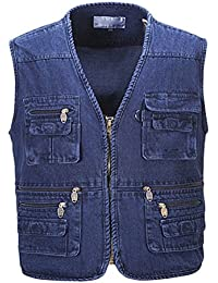 Zhhlaixing Buena tela Mens Outdoor Multipocket Fishing Working Denim Vest Waistcoat Gift for Father's Day