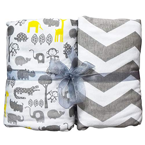 Weiche, natürliche Spannbettlaken, Spannbetttuch von Home Prinzip, Baumwoll-jersey 2er Pack, dekorative Muster, 70x140 für Babybett, Krippe, Kinderbett