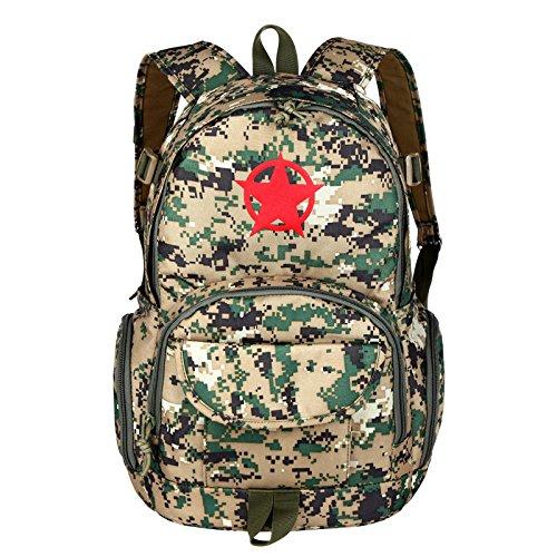 Outdoor Rucksack Camouflage Camouflage Double Shoulder Bag student Tasche Freizeit Sport reisen Rucksack 45 * 28 * 16 cm, Wüste, 20-35 Liter Jungle Camouflage