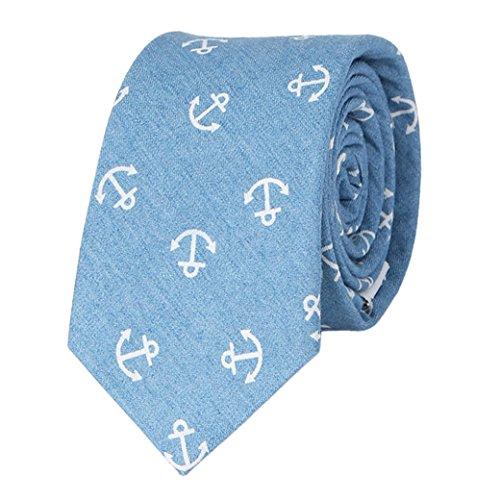 Panegy Algodón Corbata Estrecha con Estampado de Ancla Moda 146cm*6.5cm Accesorio para Hombres Chicos - Azul claro