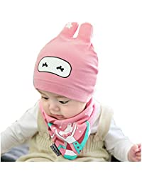 adorable bebé Gorro y baberos Conejo de Punto vistoso Invierno caricatura Tejido Caliente lana Cofia Capucha Bufanda Caps Sombreros