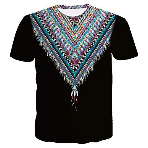 ISAAC ENGLAND 2019 Sommer Neues Shirt Digitaldruck 3D Drucken T-Shirt Straße Jugend Kurzarm Afrikanisches Nationales Kostüm Printing-XXL, ()