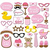 Veewon New 29pcs Babyparty Foto Props Babyflasche Fotorequisiten Masken Rosa Photo Booth Props Neugeborene Dame Girl Partydekoration