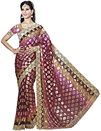 Risera Chiffon Pink Foil Printed With Lace Border Bollywood Women's Saree