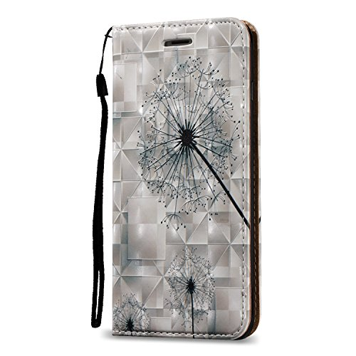 Custodia iPhone 6S Plus, Custodia iPhone 6 Plus, ikasus® iPhone 6S Plus/iPhone 6 Plus Custodia Cover [PU Leather] [Shock-Absorption] Protettiva forte magnetico Cover Custodia Rilievo 3D dipinto copert Dente di leone