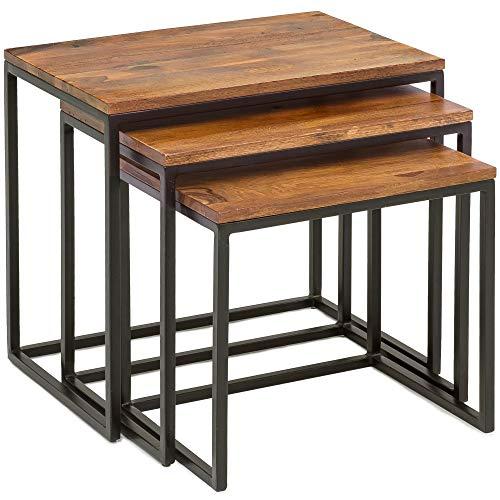 Wohnling 3er Set Beistelltisch WL5.662 Massivholz Tisch 3-teilig | Industrie Couchtisch eckig modern Holztisch mit Metallbeinen | Loft Wohnzimmertisch | Anstelltische mit Metallgestell