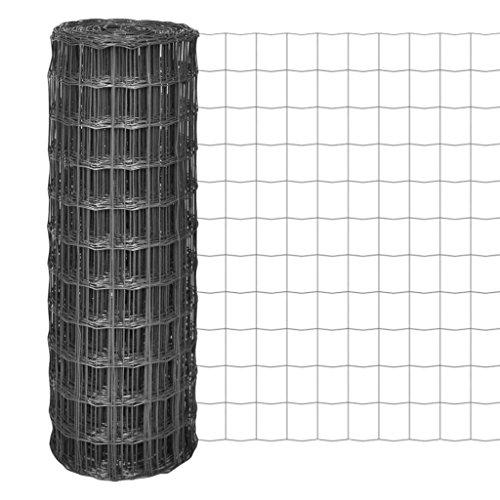 SENLUOWX Maille d'acier Euro Fence Gris 25 x 1 m/77 x 64 mm