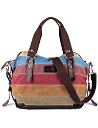 La Desire Canvas Multi-Color Striped Top Handle Women's Purse Handbag Crossbody Shoulder Tote Bag