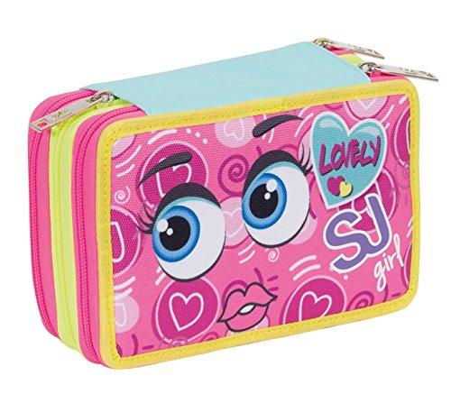 Estuche Escolar 3 Pisos – SJ Face Multi Compartimentos con lápiz, rotuladores, boligrafos.Azul Rosa