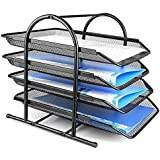 JD9 Metal Mesh 4 Tier Document Tray, File Tray, File Rack for A4 Documents/Files/Papers/Letters/folders Holder Desk Organizer (Black))