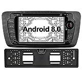 Ohok 7 Zoll Bildschirm 2 Din Autoradio Android 8.0.0 Oreo Octa Core 4G+32G Radio mit Navi Moniceiver DVD GPS Navigation Unterstützt Bluetooth WLAN DAB+ OBD2 für SEAT IBIZA 2009-2013 mit Rückfahrkamera