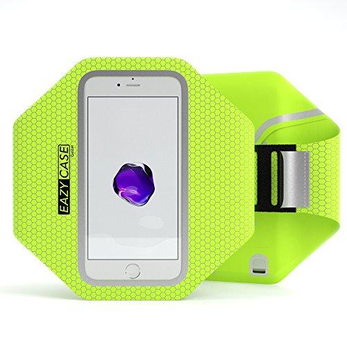 EAZY CASE Sport Armband, Fitness Armband Schweißbeständig Weich für Laufen, Bergsteigen, geeignet für alle Smartphones bis 5.5 Zoll wie Apple iPhone 7 Plus, Samsung Galaxy S7 Edge und mehr in Neon-Grün