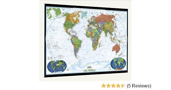 National geographic decorator laminated world wall map with fitted national geographic decorator laminated world wall map with fitted poster hangers 46 x 30 amazon kitchen home publicscrutiny Images