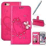 Robinsoni iPhone 6 Plus,iPhone 6S Plus Coque,Luxe Glitter Strass Fleur Amour Motif Housse Etui en Cuir PU Portefeuille Coque à Rabat Magnétique Porte Carte Clapet Intégrale Flip Support Coque,Rose
