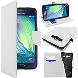 ebestStar - pour Samsung Galaxy A3 SM-A300F (2015) - Housse Coque Etui Portefeuille Support PU Cuir, Couleur Blanc [Dimensions PRECISES de votre appareil : 130.1 x 65.5 x 6.9 mm, écran 4.5'']