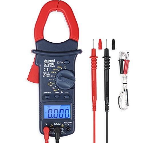 AstroAI Pince Ampèremétrique 6000 Points TRMS, Multimètre Automatique et Voltmètre; Testeur Electrique Testeur Tension, Courant Alternatif, Température, Résistance, Continuité, Capacité, Diodes Tests
