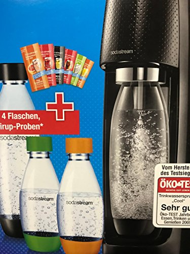 Preisvergleich Produktbild SodaStream Easy Vorteilspack Wassersprudler mit 1 Zylinder, 2 * 1L PET Flasche (BPA FREI!), 2 * 0,5L PET Flasche (BPA FREI!), sowie 6 Sirupproben; Farbe: schwarz