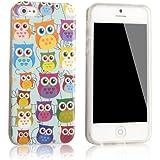 tinxi® Design Silikon Schutzhülle für Apple iPhone 5 5S Hülle TPU Silikon Rückschale Schutz Hülle Silicon Case mit bunte Eule Owl Muster