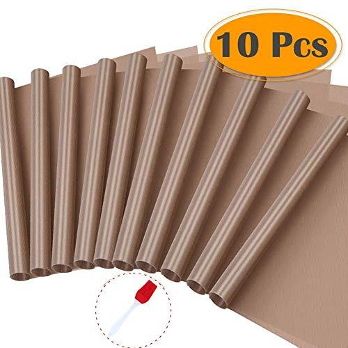 Eeieer set di 10 ptfe teflon sheet resistente al calore foglio antiaderente per pressa di calore trasferimento bbq griglia mat olio-prova con 1 spazzola in silicone 40 x 60 cm