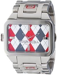 Rockwell DT103Duel Unisex de Tiempo Tiempo acero inoxidable plata y rojo Argyl reloj