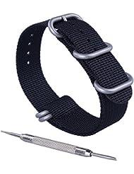 ZWOOS Reemplazo de Nylon Correa de Reloj 22mm Hebilla de Correa de Reloj de Acero Inoxidable Mira Bandas,Ejército Verde y Negro (Negro, 22mm)