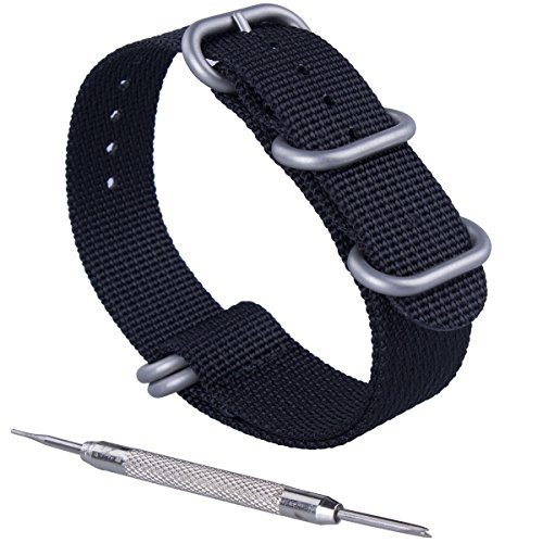 ZWOOS Nylonband Zulu-Uhrenarmband mit Edelstahl-Schnalle Uhrband Armband Band mit Federstegwerkzeug 20mm, Schwarz und Armeegrün (Schwarz, 20mm)