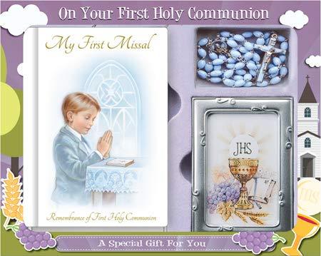 Cadeau de première communion pour garçon - Missel, chapelet en perles et cadre photo C5175