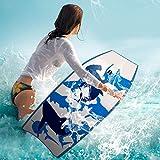 "COSTWAY 42""(106cm) Body Board EPS Beach Design Bodyboard Pool Swim Float Wave Core Surf Board Includes Wrist/Ankle Strap For Adult Kids (Blue)"