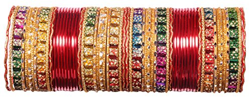 A.B.S. by Allen Schwartz Jewellery Multicolour Bridal Punjabi Choora Designer Wedding Chuda Stone Fashion Chura Set for girl & women Traditional (RED, 2.4)  available at amazon for Rs.399