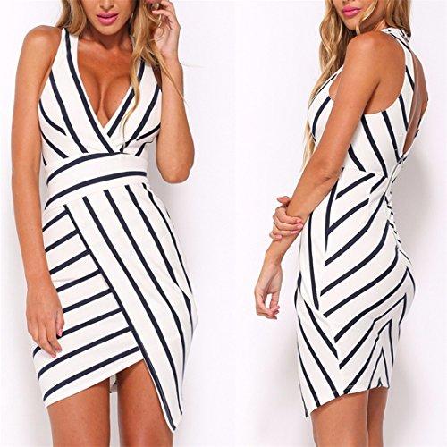 QIYUNZ Frauen VAusschnitt Ärmellose Mode Streifen Backless Bodycon  Unregelmäßiges Kleid Schwarze Und Weiße Streifen