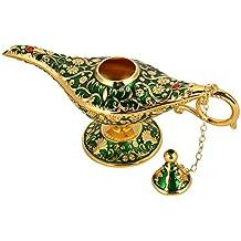 Lámpara mágica de Aladdin, Retro Metal Fairy Tale Aladdin Magic Genie Teapot Lámpara de aceite