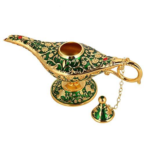 Magie Aladdin Lampe, Retro Metall Märchen Aladdin Magie Genie Teekanne Öl Lampe Home Tischdekoration(Grün)