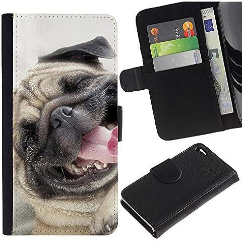 Pug Happy Smiling Dog Pet Canine Fawn - la tarjeta de Crédito Slots PU Funda de cuero Monedero caso cubierta de piel Apple iPhone 4 / iPhone 4S / 4S