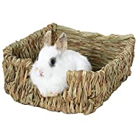 iBellete Rabbits Woven Straw Natural Grass Plaited Nest Rat Gerbil Mice Bed Nesting Box