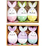 Easter Eggs, Joulli Bunny Shaped Easter Eggs Lovely Cute Gifts Toys Decoration, Assorted Colors, Grass Included, Pack of 6