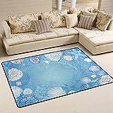 coosun blau Meer Muscheln und Seestern Bereich Teppich Teppich rutschfeste Fußmatte Fußmatten für Wohnzimmer Schlafzimmer 91,4x 61cm, Textil, multi, 36 x 24 inch