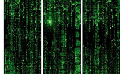 1art1 92607 Matrix - Matrix Code, Grüner Regen, 3-Teilig Poster Leinwandbild Auf Keilrahmen 120 x 80 cm